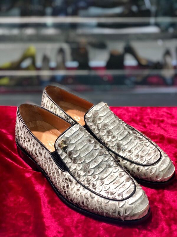 Stefano Ricci Natural White Python Loafer Dress Shoes