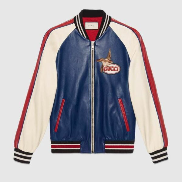 Gucci Blue White Red Leather Jacket