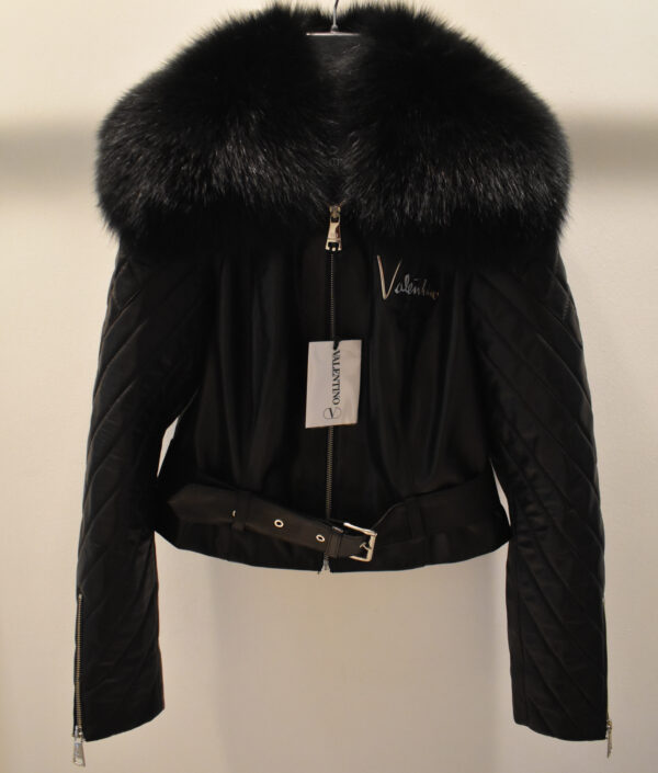 Valentino Women's Leather Jacket With Fox Fur Collar