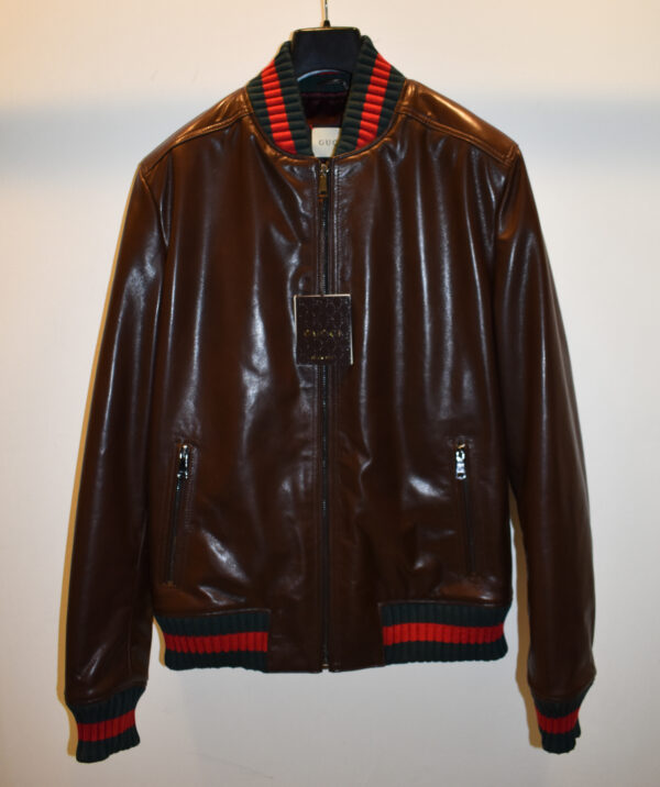 Gucci Brown Replica Leather Bomber Jacket